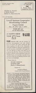 LICBC Program Schedule December 29, 1952 – Jan. 4, 1953