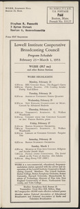 LICBC Program Schedule February 23 – March 1, 1953