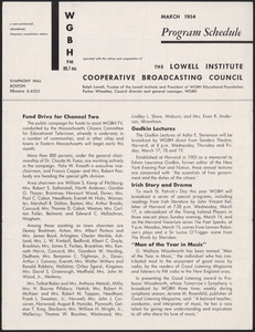 WGBH Program Schedule March 1954