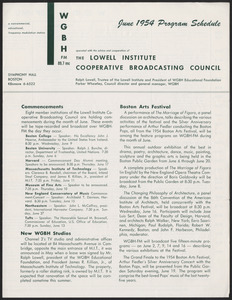 WGBH Program Schedule June 1954