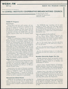 WGBH Program Schedule March 1955