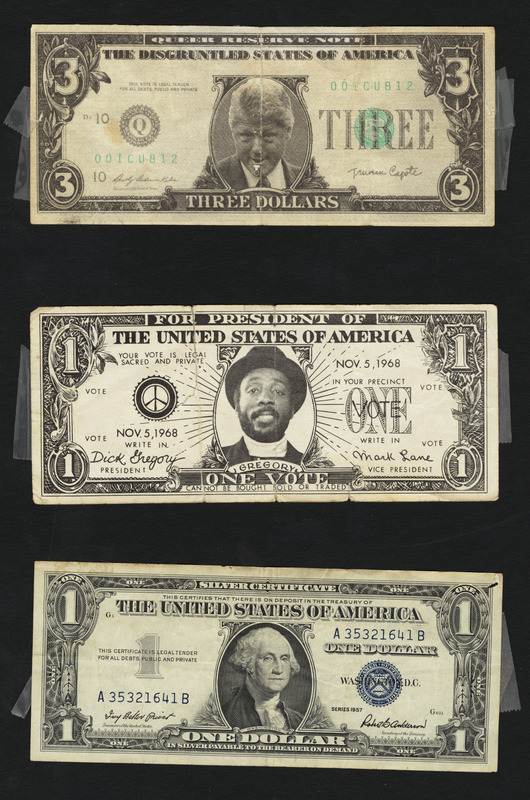 Dollar bills - Bill Clinton $3 bill, Dick Gregory $1 bill, 1957 $1 bill