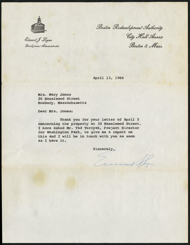 Letter from Boston Redevelopment Authority, Boston, Mass., to Mary Jones, April 13,1966