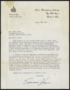 Letter from Boston Redevelopment Authority, Boston, Mass., to Mary Jones, April 26,1966