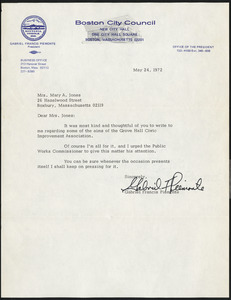 Letter from the Boston City Councilor Gabriel Francis Piemonte, Boston, Massachusetts, to Mary A. Jones, May 24, 1972