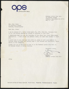 Letter from Roxbury Little City Hall, Roxbury, Massachusetts, to Mary Jones, May 17, 1972