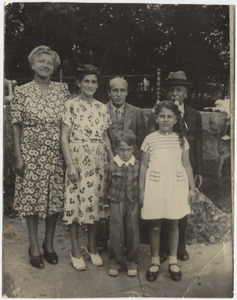 Back row: Ettie Udelsman, Ethel Brown (Paula's mother), Abraham Brown (Paula's father), and Benjamin Brown (Paula's grandfather). Front row: Mendy Brown (Paula's brother) and Paula Brown