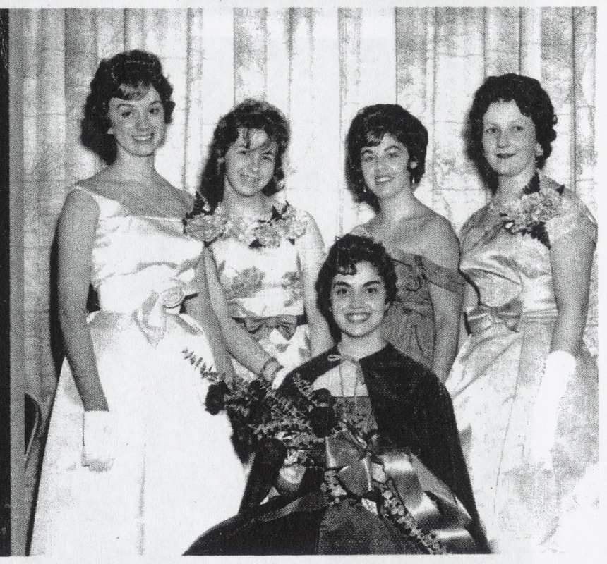 Suffolk University class of 1962, student queen and four runners-up. Paula Brown (second from right)
