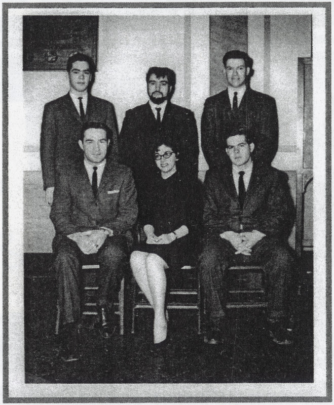 Suffolk University class of 1962, founding members of Political Science Club. Paula Brown (middle front)