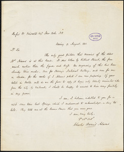 Charles Francis Adams, Quincy, MA., autograph letter signed to R. W. Griswold, 9 August 1851