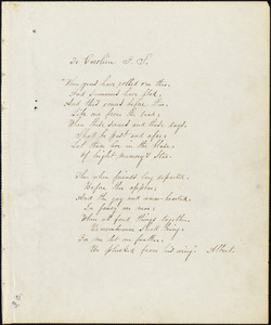 Albert (pseudonym) manuscript poem: To Caroline F. S.