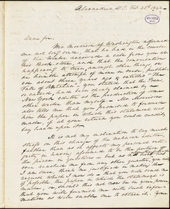 Charles Armistead Alexander, Alexandria, DC., autograph letter signed to R. W. Griswold, 25 February 1842