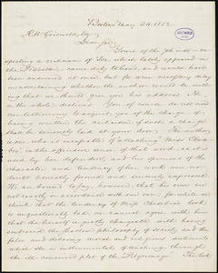 Andrews and Punchard, editors of the Boston Traveller, Boston, MA., autograph letter signed to R. W. Griswold, 24 May 1852