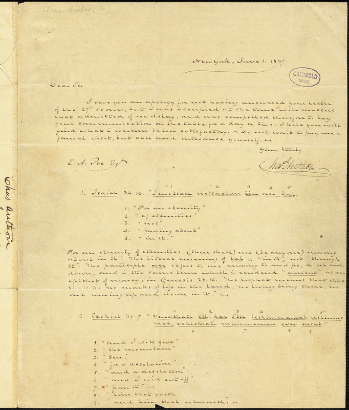 Charles Anthon, New York, autograph letter signed to Edgar Allan Poe, 1 June 1837