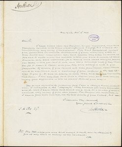 Charles Anthon, New York, autograph letter signed to Edgar Allan Poe, 2 November 1844