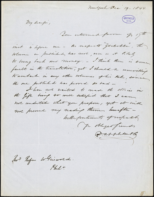 D. Appleton and Co., New York, autograph letter signed to R. W. Griswold, 19 December 1844