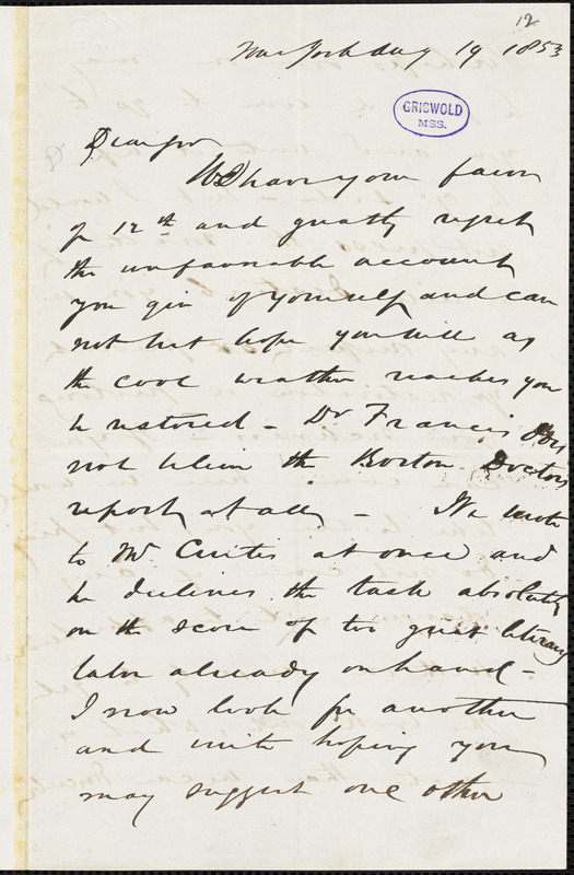 D. Appleton, New York, autograph letter signed to R. W. Griswold, 19 August 1853