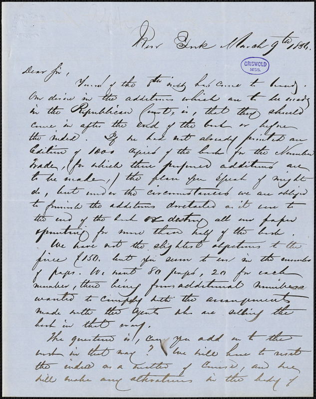 D. Appleton, New York, autograph letter signed to [R. W. Griswold], 9 March 1856