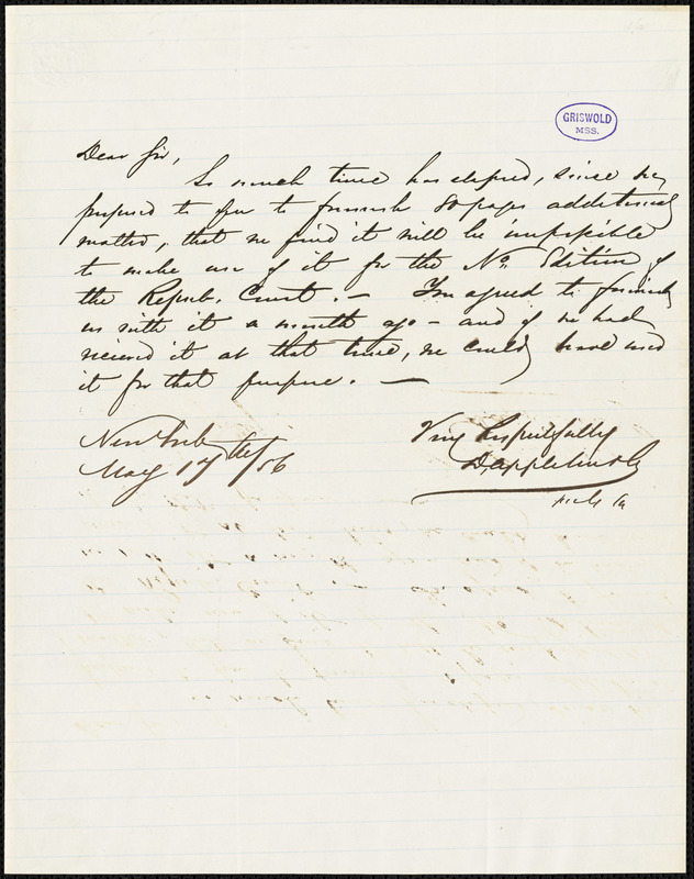 D. Appleton, New York, autograph letter signed to [R. W. Griswold], 17 May 1856