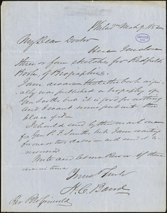 Henry Cary Baird, Philadelphia, PA., autograph letter signed to R. W. Griswold, 9 March 1852