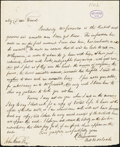 Robert Balmanno autograph letter signed to John Keese, 1842[?]