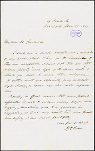 A. H. Bean, New York, autograph letter signed to R. W. Griswold, 29 January 1857
