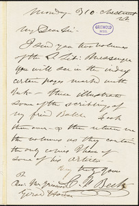 C. F. Beck, 310 Chestnut St., autograph letter signed to R. W. Griswold