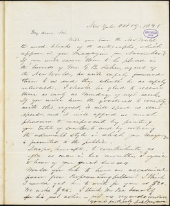 Park Benjamin, New York, autograph letter signed to George R. Graham, 19 October 1841