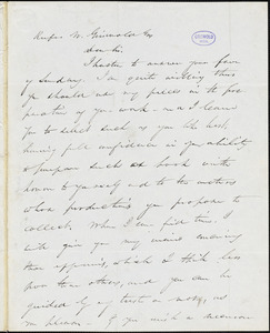 Park Benjamin, New York, autograph letter signed to R. W. Griswold, 9 February [1841?]