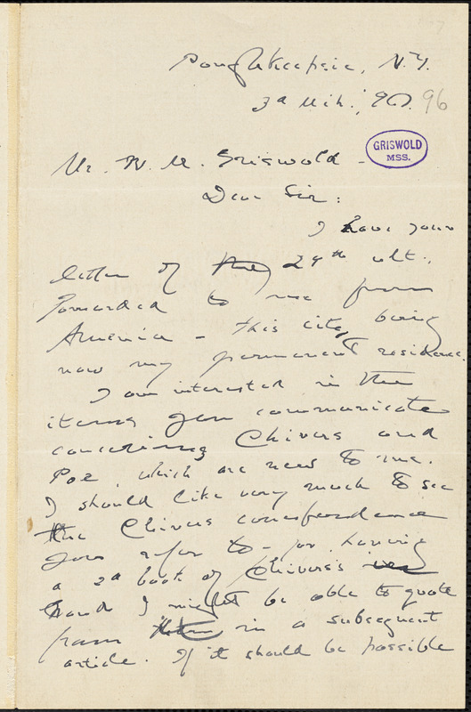 Joel Benton, Poughkeepsie, NY., autograph letter signed to W. M. Griswold, 3 March 1896