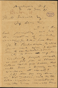 Joel Benton, Poughkeepsie, NY., autograph letter signed to W. M. Griswold, 18 January 1897