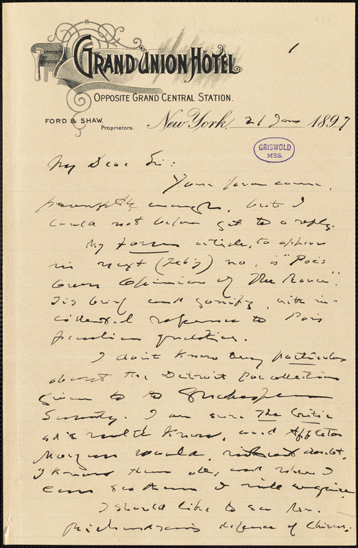 Joel Benton, New York, autograph letter signed to [W. M. Griswold], 21 January 1897