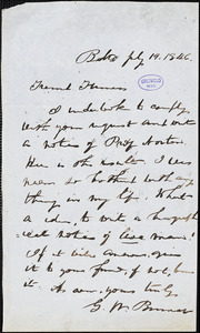 G. W. Binner, Baltimore, MD., autograph letter signed to [Furness?], 19 July 1846
