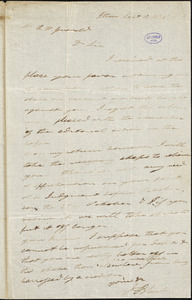 Joseph Blunt, Ithaca, NY., autograph letter signed to R. W. Griswold, 10 September 1836