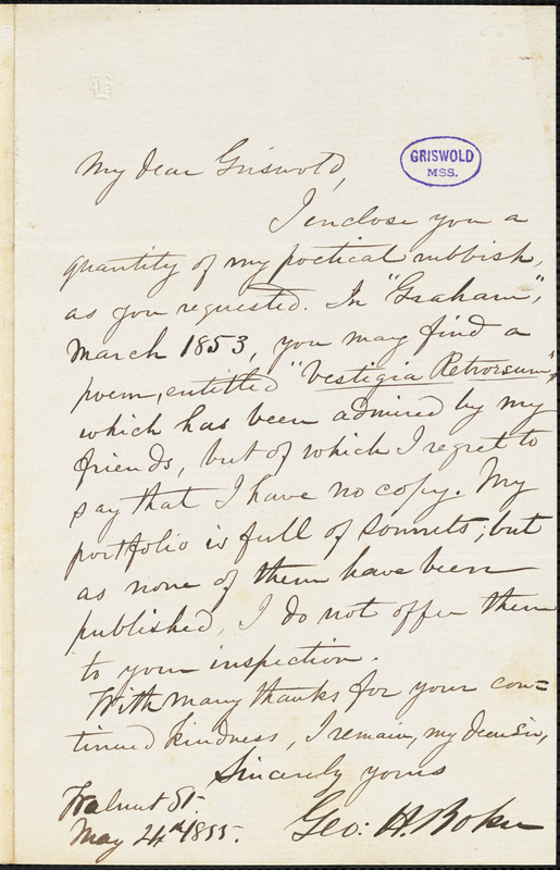 George Henry Boker, Walnut St., autograph letter signed to R. W. Griswold, 24 May 1855