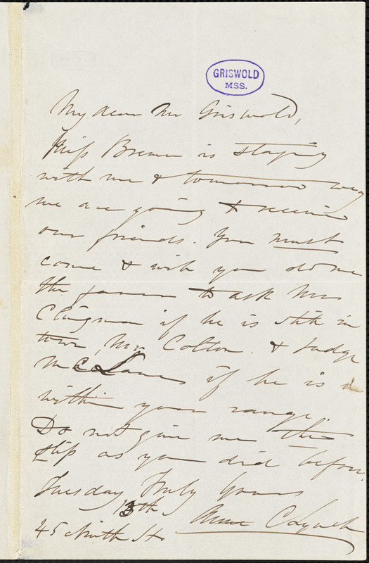 Anne Charlotte Botta, 45 Ninth St., autograph letter signed to R. W. Griswold, 13 July