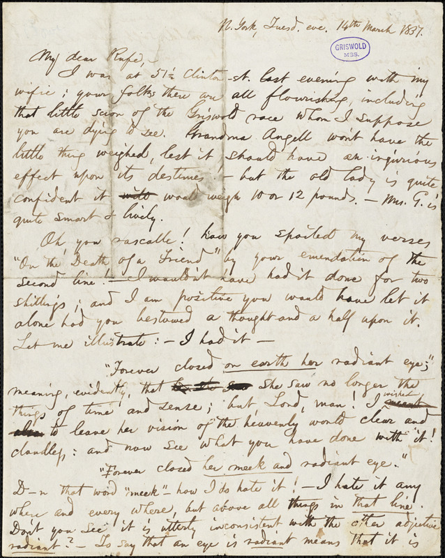 Obadiah Allen Bowe, New York, autograph letter signed to R. W. Griswold, 14 March [1838]