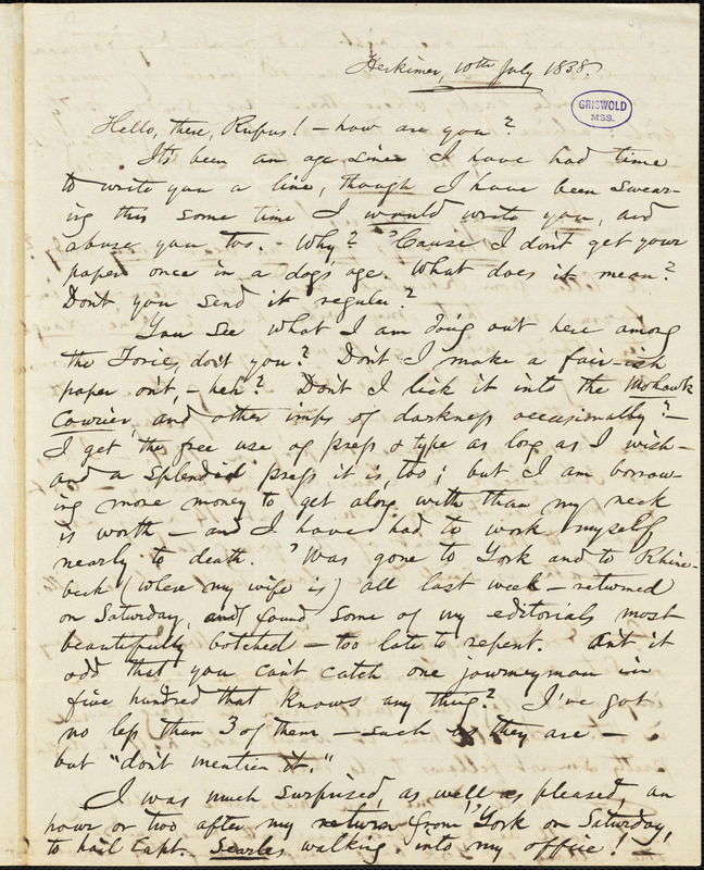 Obadiah Allen Bowe, Herkimer, NY., autograph letter signed to R. W. Griswold, 10 July 1838