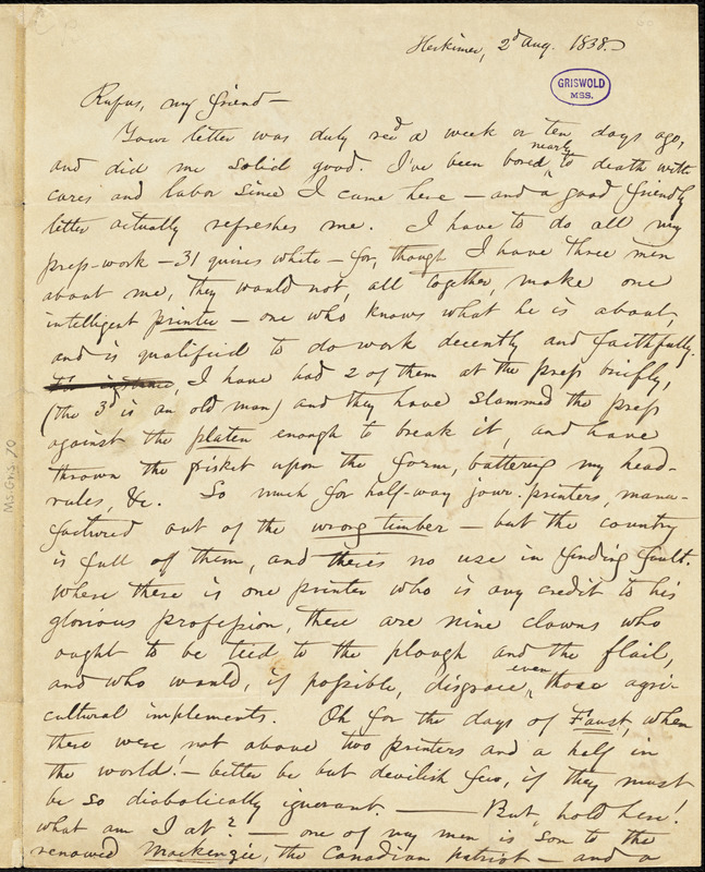 Obadiah Allen Bowe, Herkimer, NY., autograph letter signed to R. W. Griswold, 2 August 1838