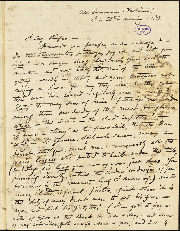 Obadiah Allen Bowe, Herkimer, NY., autograph letter signed to R. W. Griswold, 28 February 1839