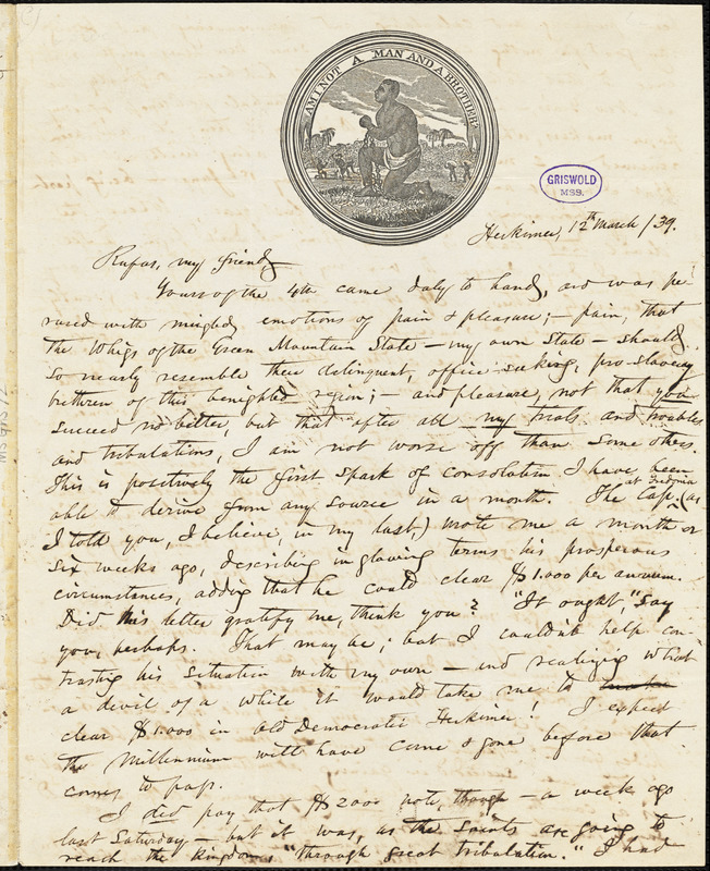 Obadiah Allen Bowe, Herkimer, NY., autograph letter signed to R. W. Griswold, 12 March 1839
