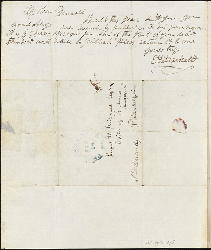 Edward Augustus Brackett autograph letter signed to R. W. Griswold, 16 February [1843?]