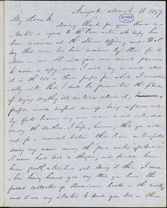 Charles Frederick Briggs, New York, autograph letter signed to R. W. Griswold, 13 March 1847