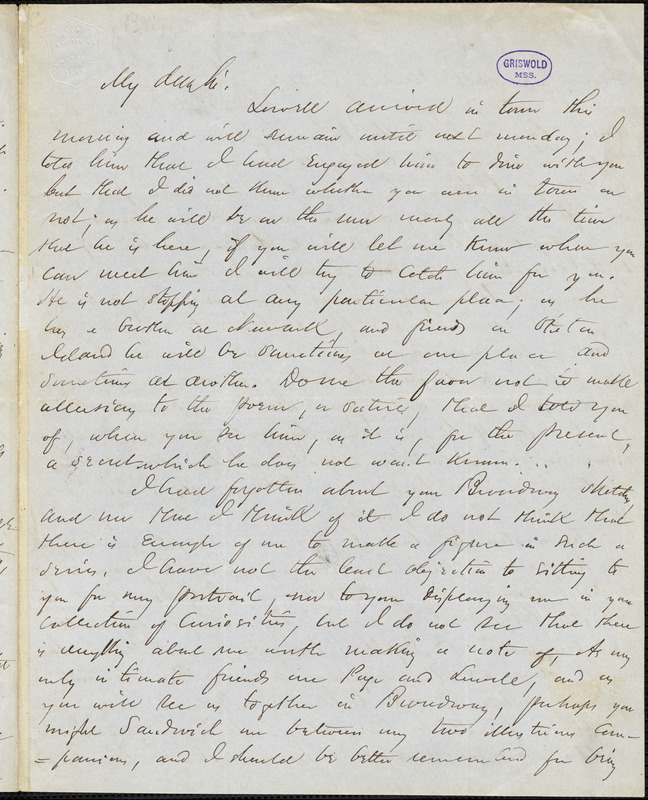 Charles Frederick Briggs, autograph letter signed to R. W. Griswold, [6 August 1848?]