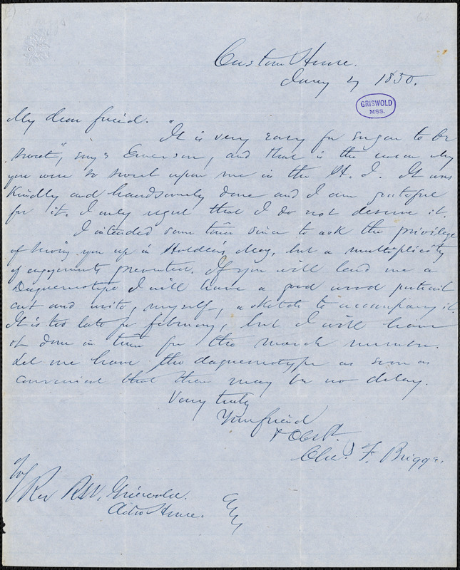 Charles Frederick Briggs, Custom House, autograph letter signed to R. W. Griswold, 4 January 1850