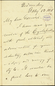 Charles Frederick Briggs autograph letter signed to R. W. Griswold, 13 February 1856