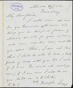 Charles Frederick Briggs, Mirror office, Tuesday, autograph letter signed to R. W. Griswold