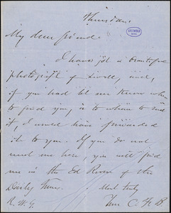 Charles Frederick Briggs, Thursday., autograph letter signed to R. W. Griswold