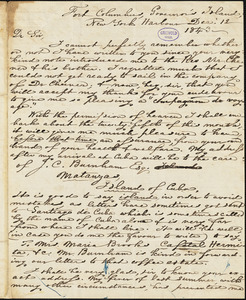Maria (Gowen) Brooks, Governor's Island, New York Harbor, NY., autograph letter signed to R. W. Griswold, 12 December 1843