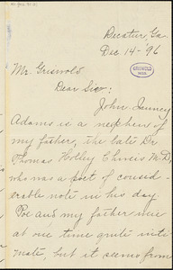 [Fannie?] Isabelle (Chivers) Brown, Decatur, GA., autograph letter signed to W. M. Griswold, 14 December 1896